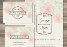 Free vector Floral wedding invitations cards in sketchy style #4
