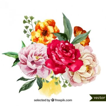 Free vector Watercolor bouquet of flowers #3