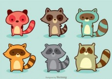 Free vector Cute set of cartoon raccoons #19
