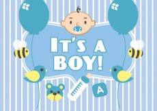 Free vector Baby shower card for boy #2611