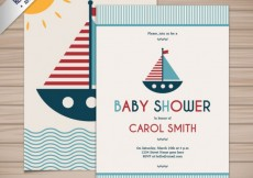 Free vector Baby shower card in nautical style #1443