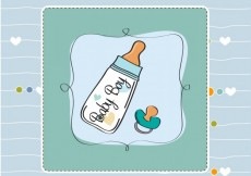 Free vector Baby shower card with baby bottle #3909