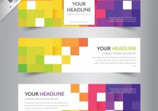 Free vector Banners template with colorful pixels #2835