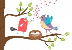 Free vector Birds on tree branch birthday card #3797