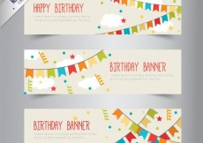 Free vector Birthday banners with bunting #138