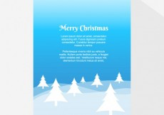 Free vector Blue landscape with trees Christmas card #2521
