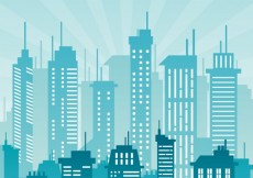 Free vector City buildings in blue color #2230