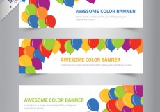 Free vector Color banners with balloons #227