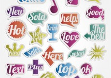 Free vector Colorful badges in different shapes #3085