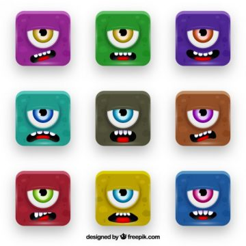 Free vector Colorful monster buttons #2394