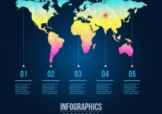 Free vector Colorful world map infographic #801