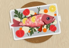 Free vector cooked fish and vegetables on a plate #286