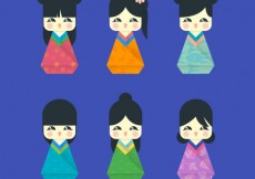 Free vector Cute chinese dolls #320