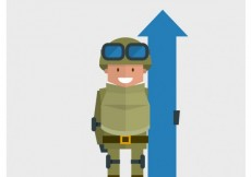 Free vector Flat soldier with a blue arrow #522
