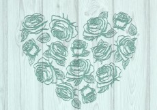Free vector Floral heart on wood #1215