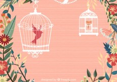 Free vector Flowers and bird cages #1680