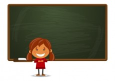 Free vector Girl and a chalkboard #1745