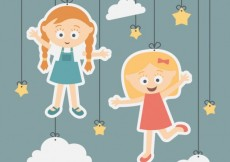 Free vector Girls illustration hanging on a rope #339