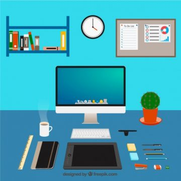 Free vector Graphic designer workspace #731
