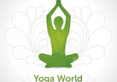 Free vector Green silhoutte yoga background #3201