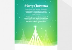 Free vector Green snowy Christmas card #2522