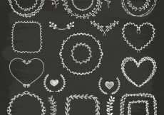 Free vector Hand drawn wreaths on blackboard #2100
