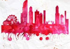 Free vector Hand painted chicago skyline #2657