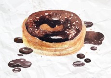Free vector Hand painted chocolate donut #409