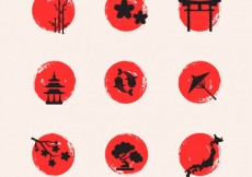 Free vector Hand painted japanese elements #1404