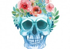 Free vector Hand painted skull with flowers #1427