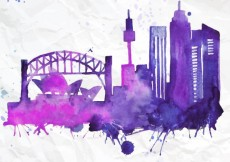 Free vector Hand painted Sydney skyline #2668