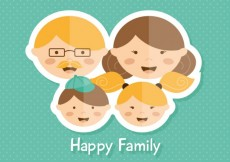 Free vector Happy family in sticker style #1464