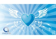 Free vector Heart Vector Background with Wings #3932