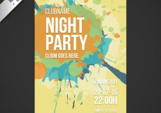 Free vector Party poster with paint splashes #869