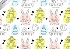 Free vector Pattern with sketchy toys #2213
