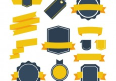 Free vector Retro badges collection with yellow ribbons #1768