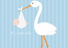 Free vector Stork with a baby boy #2148