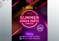 Free vector Summer dance party poster #1967