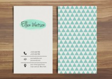 Free vector Visit card with blue triangles #949