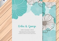 Free vector Wedding invitation with flowers #1254