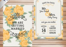 Free vector Wedding invitation with yellow roses #911