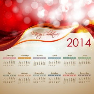 Free vector 2014 New Year Calendar Illustration #5640