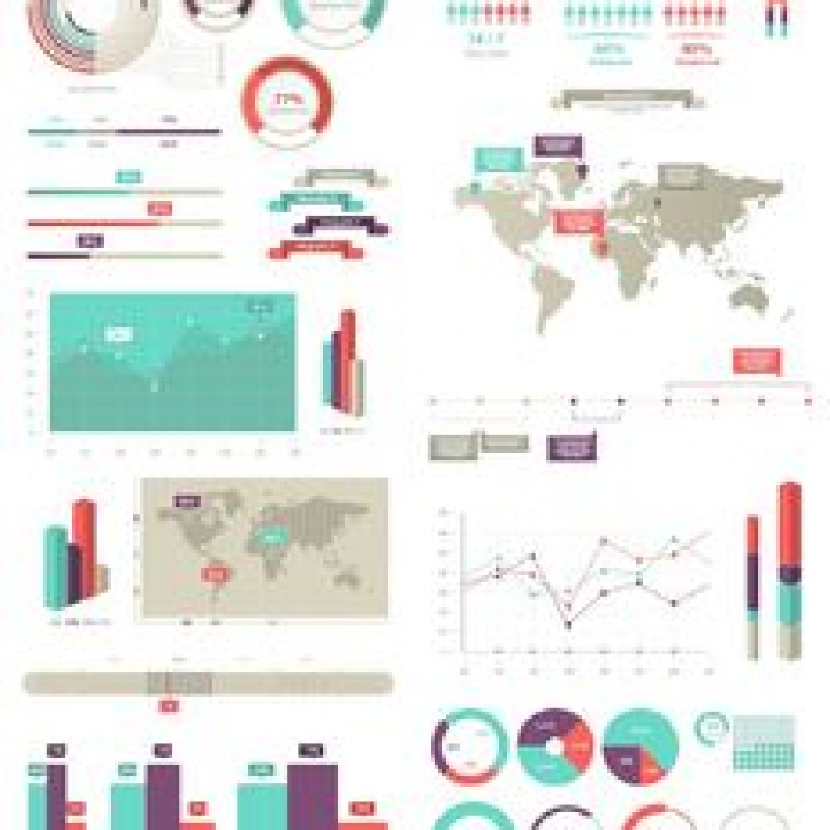 Free vector 30 Plus Info Graphic Set with Maps and Statistics #5281