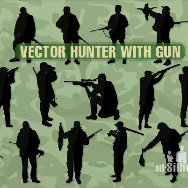 Free vector 67 Vector hunter with gun #5090
