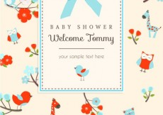 Free vector Animals card for baby shower #7365