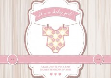 Free vector Baby shower card for girl #6932