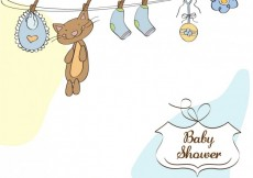 Free vector Baby shower card with baby things #4436