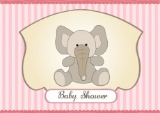 Free vector Baby shower card with teddy elephant and striped background #4018