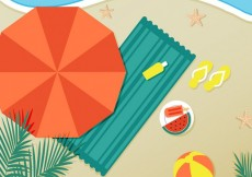 Free vector Beach with parasol and towel #4504