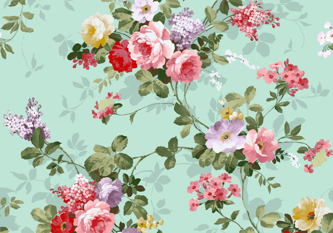 free vector beautiful vintage pink and red roses textile